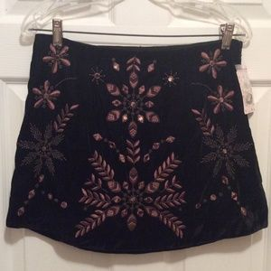 Free People Skirt 8 Black Brown Embroidery Short